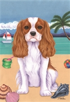 Cavalier King Charles Spaniel on the Beach Flag SaltyPaws.com