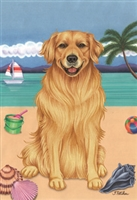 Golden Retriever on the Beach Flag SaltyPaws.com