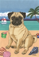 Pug Fawn on the Beach Flag SaltyPaws.com