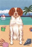 Brittany Spaniel on the Beach Flag SaltyPaws.com