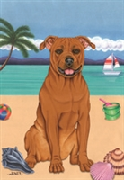 American Pit Bull Terrier on the Beach Flag SaltyPaws.com