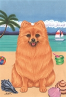 Pomeranian on the Beach Flag SaltyPaws.com