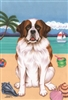Saint Bernard on the Beach Flag SaltyPaws.com