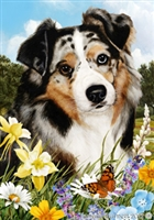 Australian Shepherd Blue Merle Small Decorative Garden Flag