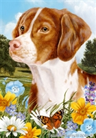 Brittany Spaniel Small Decorative Garden Flag