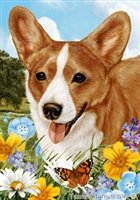 Corgi Spaniel Small Decorative Garden Flag