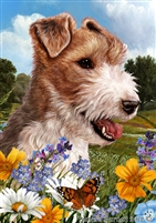 Fox Terrier Small Decorative Garden Flag