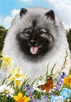 Keeshond Small Decorative Garden Flag