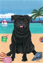 Pug Black on the Beach Flag SaltyPaws.com