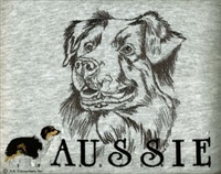 Salty Paws Australian Shepherd Classic Embroidered Tee Shirt or Sweatshirt, Clothing for Dog and Cat Lovers at www.saltypaws.com