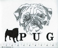 Pug Black Classic Embroidered Tee Shirt or Sweatshirt, Clothing for Dog and Cat Lovers at www.saltypaws.com