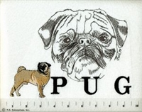Pug Fawn Classic Embroidered Tee Shirt or Sweatshirt, Clothing for Dog and Cat Lovers at www.saltypaws.com