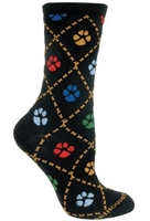 Dog Paws on Black Novelty Socks SaltyPaws.com