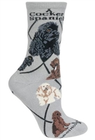 Cocker Spaniel Solid Multi-Color Novelty Socks SaltyPaws.com
