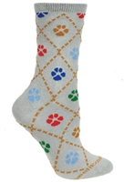 Dog Paws on Gray Novelty Socks SaltyPaws.com