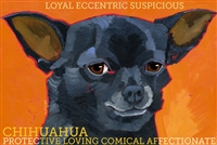 Black Chihuahua Artistic Fridge Magnet SaltyPaws.com