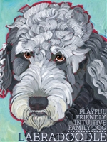 Labradooodle Grey & Blue Artistic Fridge Magnet SaltyPaws.com