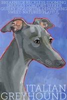 Italian Greyhound Gray Artistic Fridge Magnet SaltyPaws.com