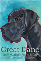 Great Dane Uncroped Black Fridge Magnet SaltyPaws.com