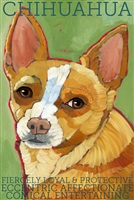 Tan and White Chihuahua Artistic Fridge Magnet SaltyPaws.com