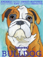 English Bulldog Tan and White Artistic Fridge Magnet SaltyPaws.com