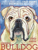 English Bulldog White Artistic Fridge Magnet SaltyPaws.com