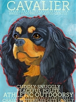 Cavalier King Charles Spaniel Black And Brown Artistic Fridge Magnet SaltyPaws.com