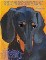 Dachshund Black Artistic Fridge Magnet SaltyPaws.com