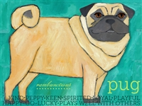 Pug Fawn Full Body Artistic Fridge Magnet SaltyPaws.com