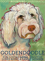 Goldendoodle Profile Artistic Fridge Magnet SaltyPaws.com