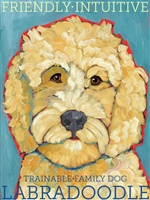 Labradooodle Cream Artistic Fridge Magnet SaltyPaws.com