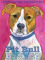 American Pit Bull Terrier Red Artistic Fridge Magnet SaltyPaws.com