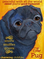 Pug Black Artistic Fridge Magnet SaltyPaws.com