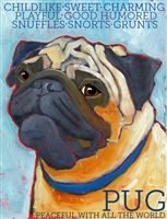 Pug Fawn Face Artistic Fridge Magnet SaltyPaws.com