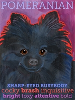 Pomeranian Black Artistic Fridge Magnet SaltyPaws.com
