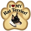 Rat Terrier Paw Magnet for Car or Fridge