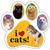 I Love Cats Paw Magnet for Car or Fridge