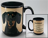 Dachshund Black Coastal Coffee Mug Cup www.SaltyPaws.com
