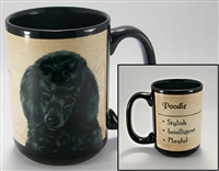 Black Poodle Coastal Coffee Mug Cup www.SaltyPaws.com