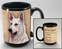 German Shepherd White Coastal Coffee Mug Cup www.SaltyPaws.com