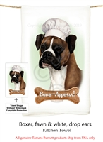 Boxer Fawn Uncropped Flour Sack Kitchen Towel