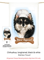 Chihuahua LH Black & White Flour Sack Kitchen Towel