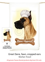 Great Dane Fawn Cropped Flour Sack Kitchen Towel