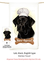 Labrador Black Flour Sack Kitchen Towel