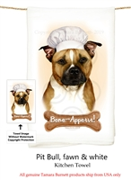 Pit Bull Brown and White Uncropped Flour Sack Kitchen Towel