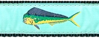 Mahi Mahi Seafoam Green Ribbon Dog Collar SaltyPaws.com