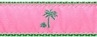 Palm Tree Pink and Green Ribbon Dog Collar SaltyPaws.com