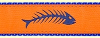 Fishbone Orange Ribbon Dog Collar SaltyPaws.com