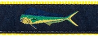 Mahi Mahi Navy Ribbon Dog Collar SaltyPaws.com