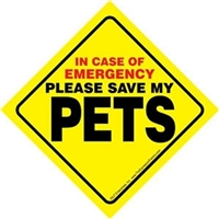"In Case of Emergency Please Save My ""PETS"" Window Sign SaltyPaws.com"